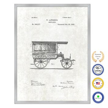 1889 Doctor Ambulance Antique Patent Artwork Silver Framed Canvas Print Home Office Decor Great for Doctor Paramedic Surgeon Hospital Medical Student