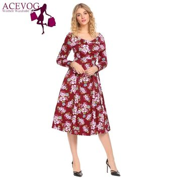 ACEVOG Women Swing Dress Vintage Wrap Split Spring Autumn V Neck Long Sleeve Lace Up High Waist Printed Party Dresses Vestidos