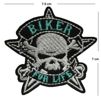 Biker for life Iron / Sew On Embroidered Patch Badge Embroidery skull motor bike | eBay