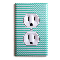 Aqua & White Mini Chevron Stripes Outlet Plate