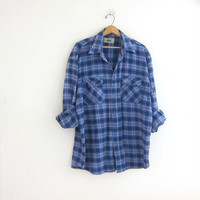 Vintage blue plaid boyfriend flannel / oversized shirt / grunge shirt / tomboy shirt / plaid flannel