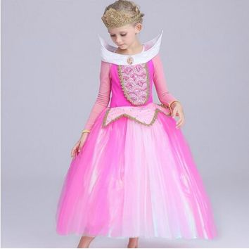 Sleeping Beauty 110-150 hot selling costume fancy birthday gift girl dress Princess Aurora Dresses for girls party Costume