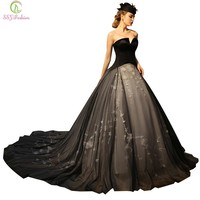 Fashion Palace Retro Style Long Evening Dress Luxury Strapless Sleeveless Black Long Tail Banquet Prom Dresses