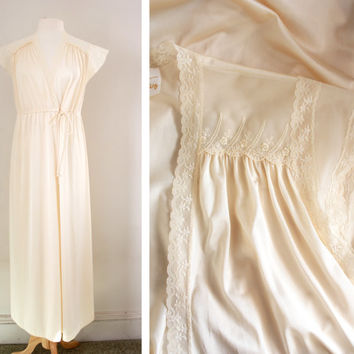 Vintage Cream Nylon and Lace Peignoir Dressing Gown Robe - Size Small to Medium