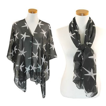 Black & White Starfish Print Multi-Way Sheer Cover Up Poncho Scarf with Buttons