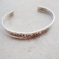 Dance in the Rain stunning sterling silver handstamped cuff