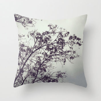 Throw Pillow Cover - Sway With Me - Botanical Print, Minimalist Nature Photography, Black Plum Purple Green Grey, Modern Home Decor