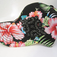 Adorable Tropical Print Trucker Baseball Cap with Black Beaded Rhinestone Appliqué Hats Visors Accessories