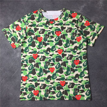 Women's Fashion Summer Camouflage Print Couple Round-neck Short Sleeve T-shirts [10207415687]