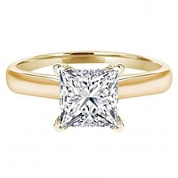 14K Yellow Gold 3CT Princess Cut Russian Lab Diamond Engagement Ring