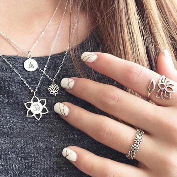 Karma Lotus Choker Necklace For Women Silver Chain Chocker Multi Layer Buddha Chokers Necklaces collares Collier Femme colar