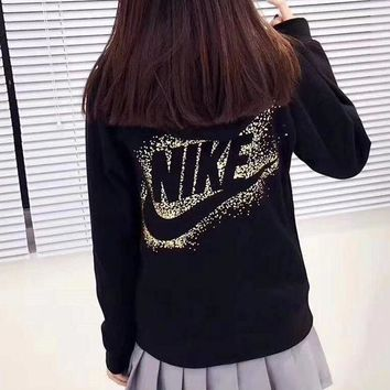 PEAP2Q nike gold logo women zip up hoodie jacket sweater sweatshirts