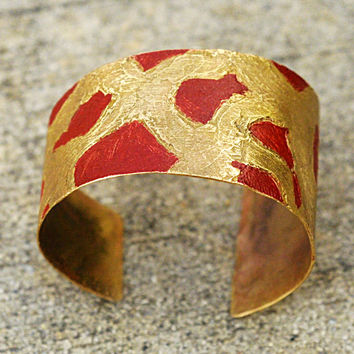 Women's Bronze Cuff Bracelet - Freeform Adjustable Wrist Cuff, Red & Gold Pattern, Abstract, Asymmetrical, Eclectic Jewelry