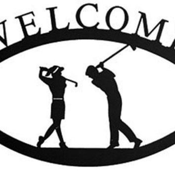 Wrought Iron Large Golf Couple Welcome Home Sign Large