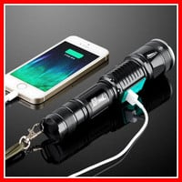 Military/Police Flashlight waterproof T6 long-range rechargeable LED Tactical