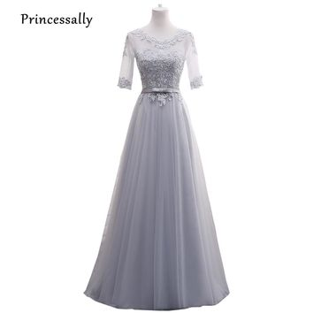 New Light Grey Bridesmaid Dresses Long Half Long Sleeve Illusion Lace Sexy Homecoming Party Formal Prom Gown Robe De Soriee
