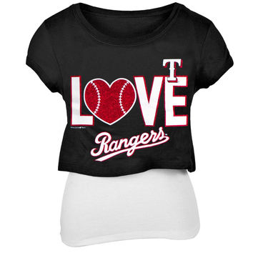 Texas Rangers - Glitter Love Girls Youth T-Shirt w/Tank
