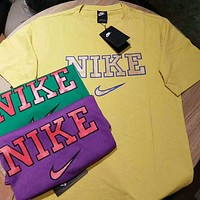 Nike Fashion Women Men Comfortable Pure Cottom Big Logo Print Candy Color Short Sleeve T-Shirt Top Yellow I-CY-MN