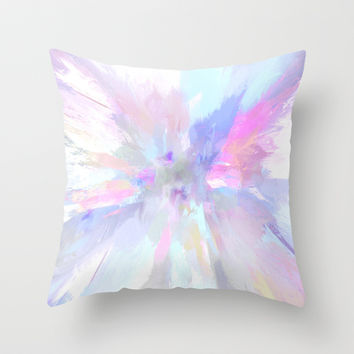 Lavender, Hot Pink & Gray Abstract Artwork 'Smoke & Mirrors' Throw Pillow by Eva Alessandria