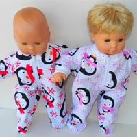 "American Girl Bitty Baby TWINS Pajamas Clothes 15"" Doll Clothes  boy & girl Pink Red White Black Penguin Print Flannel Zip Feetie Sleeper"