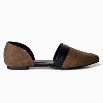 Brown-Suede-Cutout-Flat