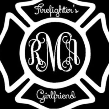 Firefighter's Wife Monogram Initials Decal, Maltese Cross, Fireman Decal, Fire Department Decal