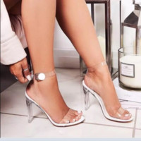 Hot style new one-word strap film transparent crystal heel sandals