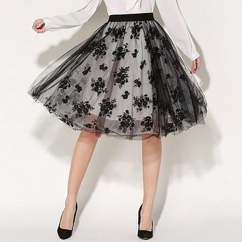 2017 New Womens Midi Skirts Summer Elegant Temperament Double Layer Tulle Skirt Knee Length Ladies Embroidery Printed Petticoat