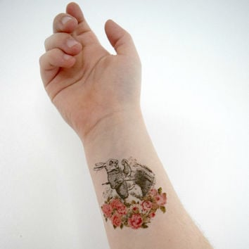 Temporary tattoo - White Rabbit, Alice, Wonderland, Vintage Flowers, Fandom, Geekery