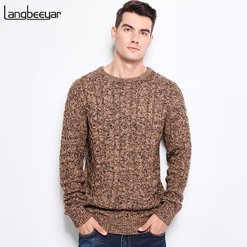 Winter Men's Sweaters Warm Thick Slim Fit Men Pullover Cotton Trend Knitted Sweater Men