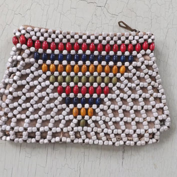 Vintage 1960s Retro Wooden Beaded Clutch Purse Geometric Woven Handbag Wallet Coin Purse Ethnic Southwestern Country Boho Bag Hipster Folk
