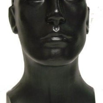 Free Standing Tabletop Male Mannequin Head Hat, Scarf Display - Black
