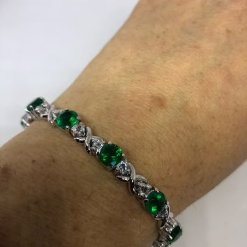 Vintage Handmade Genuine Green Flourite Rhodium Finished 925 Sterling Silver Tennis Bracelet