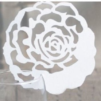 Worldoor®50 Rose Wedding Laser Cut Table Number Name Place Card Wedding Party Decoration Favor/ Elegant Rose Shaped Design Laser Cutting Place Card Wedding party decoration