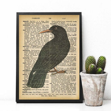 Black Raven Vintage Dictionary Poster Instatnt Download Edgar Allan Poe Wall Art Bookworms Goft Book Lovers Christmas Gift Printable Art