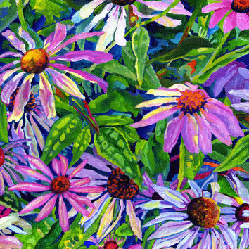 "Giclee print on canvas, matted - Echinacea - 8"" x 10""  - Signed/Editioned"