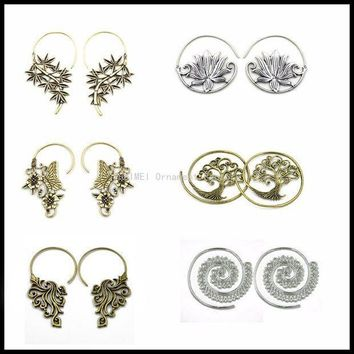 ac ESBO2Q NEW Brass Tribal Indian Antique Bamboo Butterfly Buddhism Lotus Flower Tree of Life Dangle Earring Ear Plug Piercing Jewelry