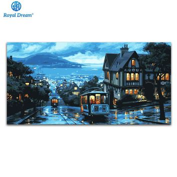 50x100cm Canvas paintings by numbers home decoration oil painting by numbers kits water city night scenery pictures wall art