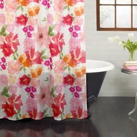"""Excell Posie 70"""" x 72"""" Fabric Shower Curtain, Floral, Bright Pink - Walmart.com"""