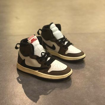 "Travis Scott x Air Jordan Retro 1 High OG TS SP ""Cactus Jack"" Toddler Kid Shoes Child Sneakers - Best Deal Online"