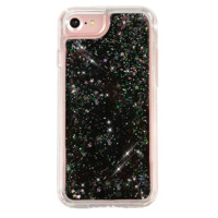 DUAL BLACK GLITTER WATERFALL IPHONE CASE