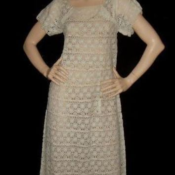 Vintage 1970s White Crochet Lace Bohemian Maxi by snapitupvintage