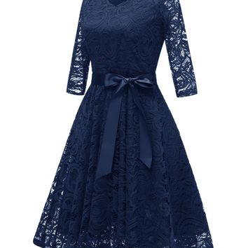 Navy Blue Cocktail Dresses Elegant Short Pink Dress Lace Formal Dresses Simple Short Sleeve Prom Gown With Sash