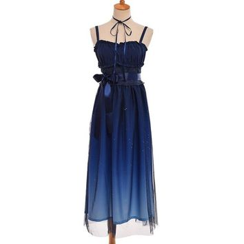 Sweet Navy Blue Starry Gradient Color Fairy JSK Suspender Lolita Dress