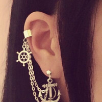 Anchor And Wheel Cartilage Chain Earrings by SimplyyCharming
