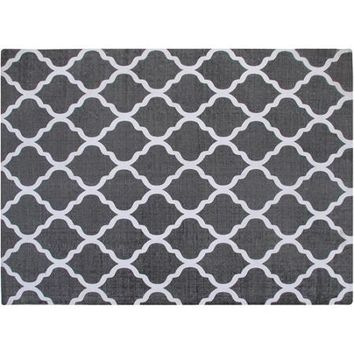 Chesapeake Merchandising Inc. Cotton Printed Grey and White Quatrefoil Geometric Rug - Walmart.com