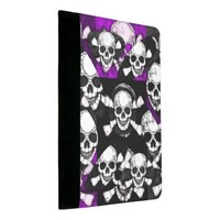 Purple Black Skull Metal Padfolio