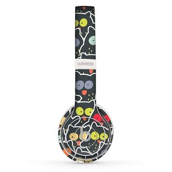 The Cartoon Color-Eyed Black Owls Skin Set for the Beats by Dre Solo 2 Wireless Headphones
