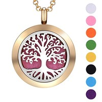 BOUTIQUELOVIN Aromatherapy Essential Oil Diffuser Necklace-Lifetime Stainless Steel Locket Jewelry with Adjustable Chain and 8 Refill Pads
