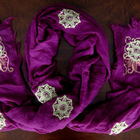Embroidered Magenta Summer Scarf (Mendhika Flourish Design)